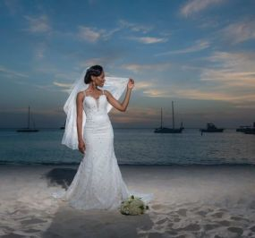 Aldean bridal wedding portrait at the beach of Aruba